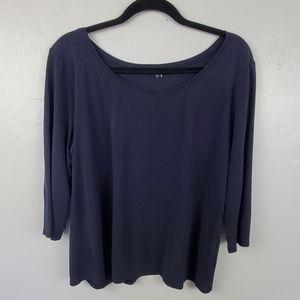 Eileen Fisher silk top blouse 3/4 sleeve women